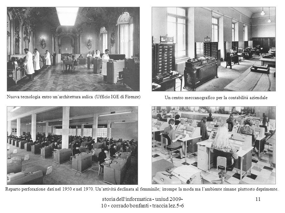 storia dell'informatica - uniud 2009- 10 - corrado bonfanti - traccia lez.5-6 11 Un centro meccanografico per la contabilità aziendale Nuova tecnologi