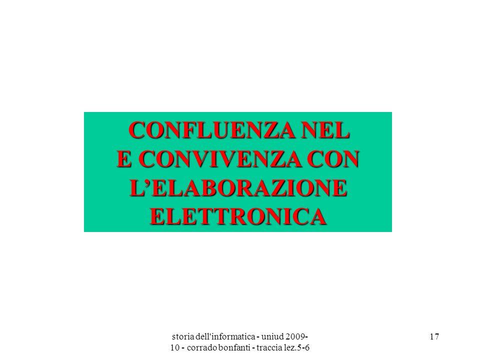 storia dell'informatica - uniud 2009- 10 - corrado bonfanti - traccia lez.5-6 17 CONFLUENZA NEL E CONVIVENZA CON LELABORAZIONE ELETTRONICA