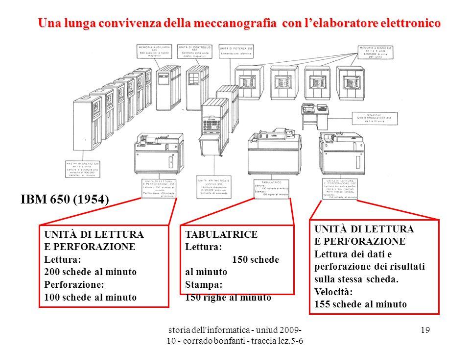 storia dell'informatica - uniud 2009- 10 - corrado bonfanti - traccia lez.5-6 19 Una lunga convivenza della meccanografia con lelaboratore elettronico