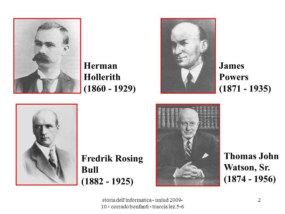 storia dell'informatica - uniud 2009- 10 - corrado bonfanti - traccia lez.5-6 2 Herman Hollerith (1860 - 1929) James Powers (1871 - 1935) Fredrik Rosi