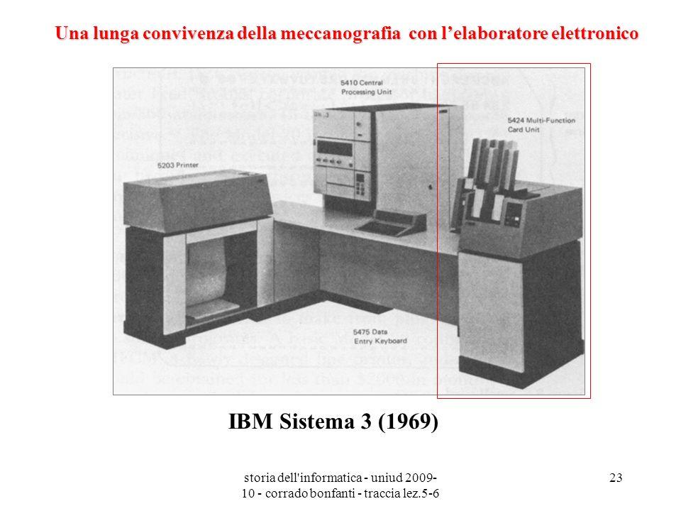 storia dell'informatica - uniud 2009- 10 - corrado bonfanti - traccia lez.5-6 23 IBM Sistema 3 (1969) Una lunga convivenza della meccanografia con lel
