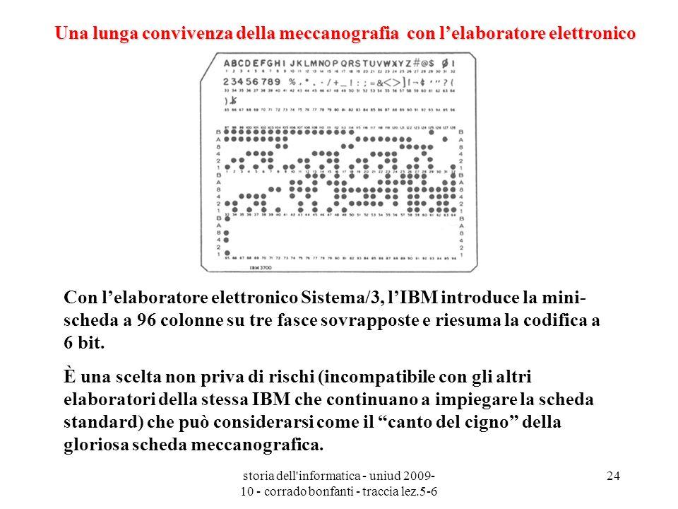 storia dell'informatica - uniud 2009- 10 - corrado bonfanti - traccia lez.5-6 24 Con lelaboratore elettronico Sistema/3, lIBM introduce la mini- sched