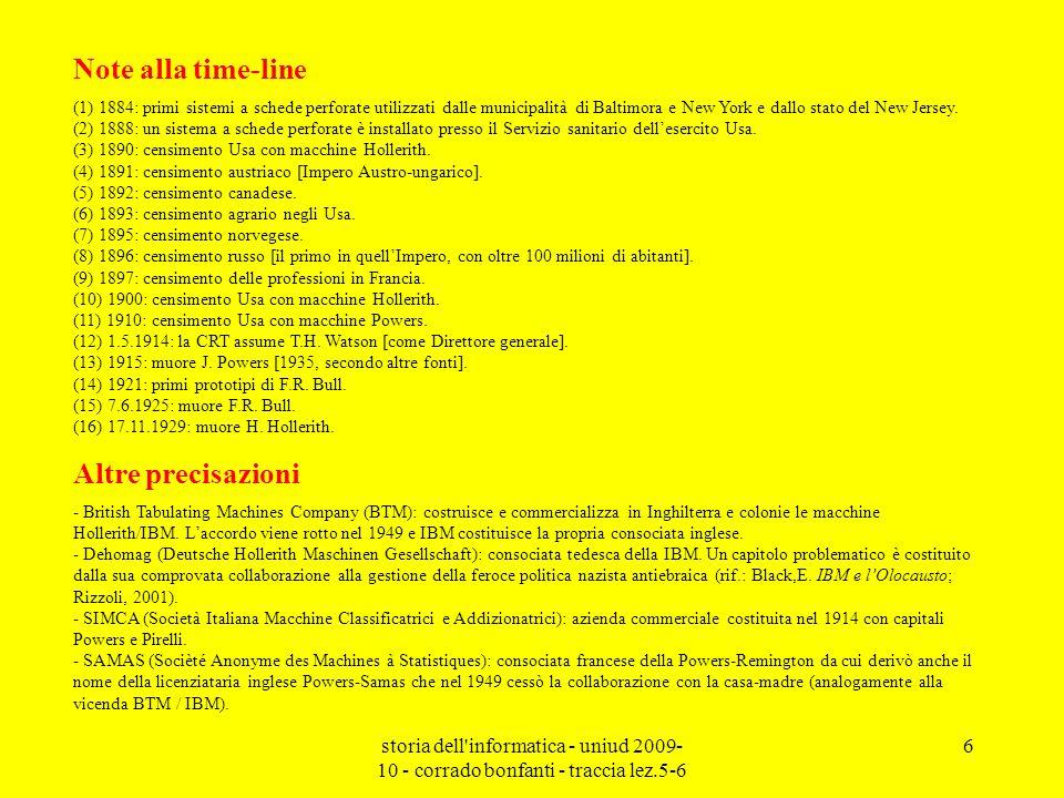 storia dell'informatica - uniud 2009- 10 - corrado bonfanti - traccia lez.5-6 6 Note alla time-line (1) 1884: primi sistemi a schede perforate utilizz