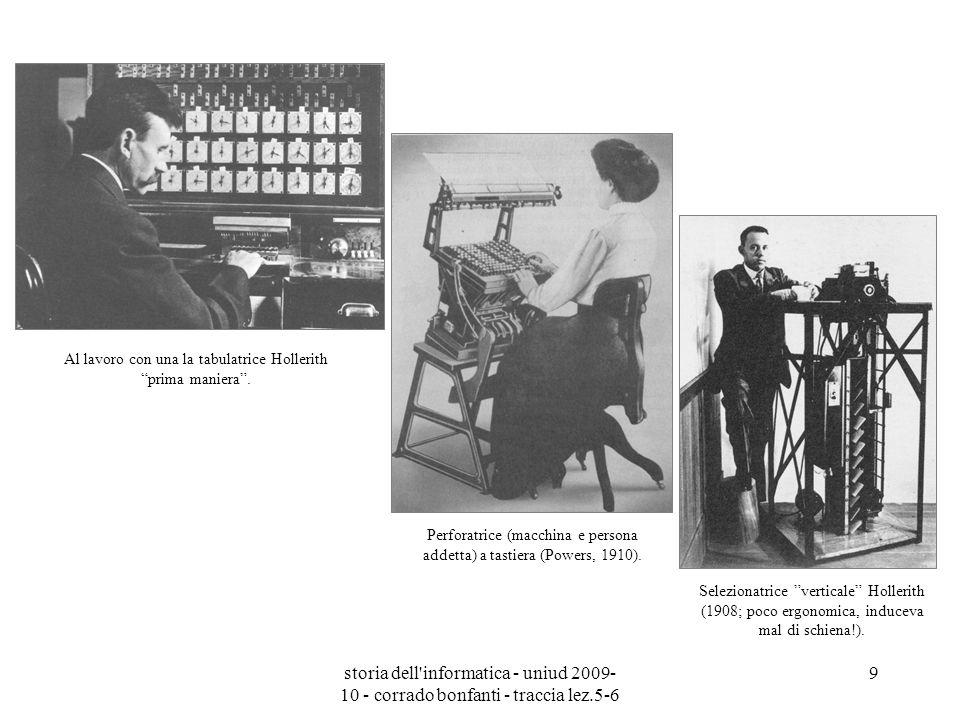 storia dell'informatica - uniud 2009- 10 - corrado bonfanti - traccia lez.5-6 9 Perforatrice (macchina e persona addetta) a tastiera (Powers, 1910). A
