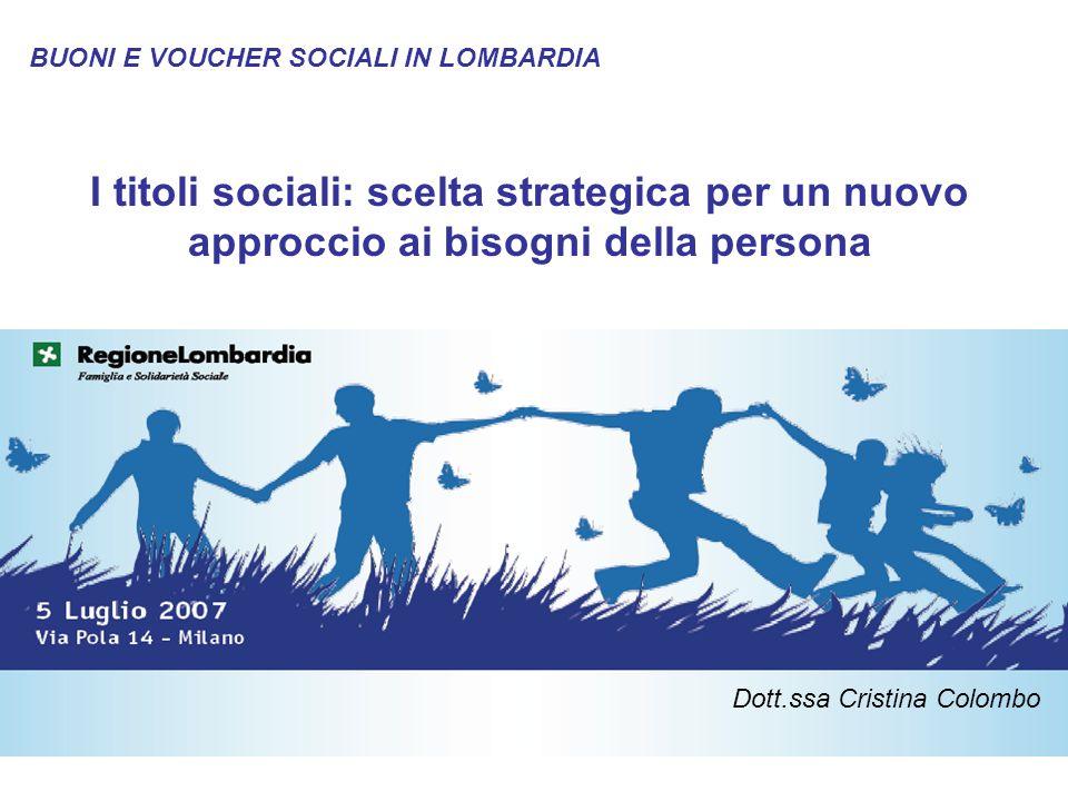 1 I titoli sociali: scelta strategica per un nuovo approccio ai bisogni della persona BUONI E VOUCHER SOCIALI IN LOMBARDIA Dott.ssa Cristina Colombo