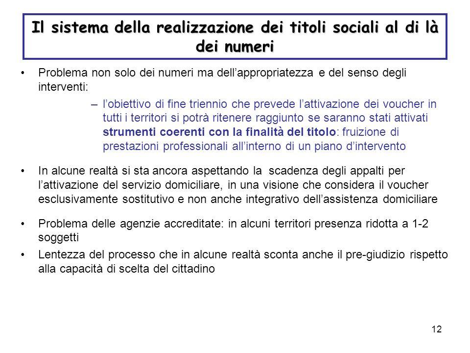 12 Il sistema della realizzazione dei titoli sociali al di là dei numeri Problema non solo dei numeri ma dellappropriatezza e del senso degli interven