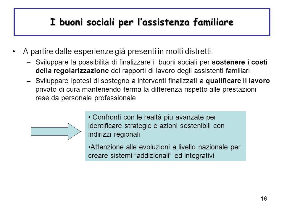 16 I buoni sociali per lassistenza familiare A partire dalle esperienze già presenti in molti distretti: –Sviluppare la possibilità di finalizzare i b