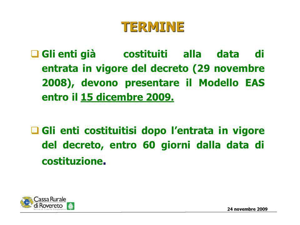 24 novembre 200910 TERMINE Gli enti già costituiti alla data di entrata in vigore del decreto (29 novembre 2008), devono presentare il Modello EAS entro il 15 dicembre 2009.