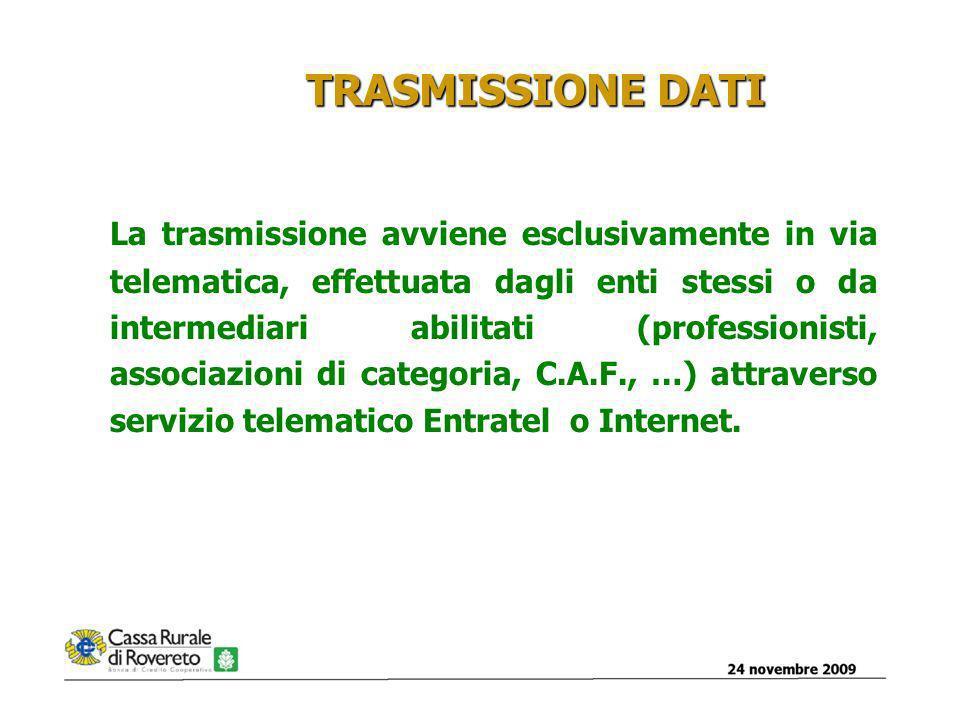 24 novembre 200912 TRASMISSIONE DATI La trasmissione avviene esclusivamente in via telematica, effettuata dagli enti stessi o da intermediari abilitati (professionisti, associazioni di categoria, C.A.F., …) attraverso servizio telematico Entratel o Internet.