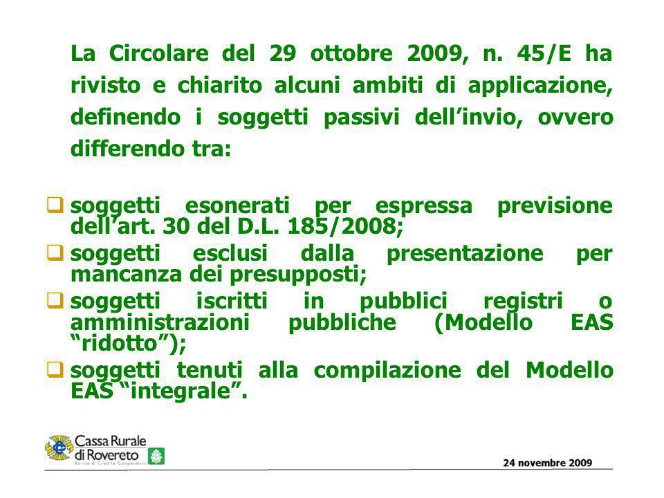 24 novembre 20094 La Circolare del 29 ottobre 2009, n.