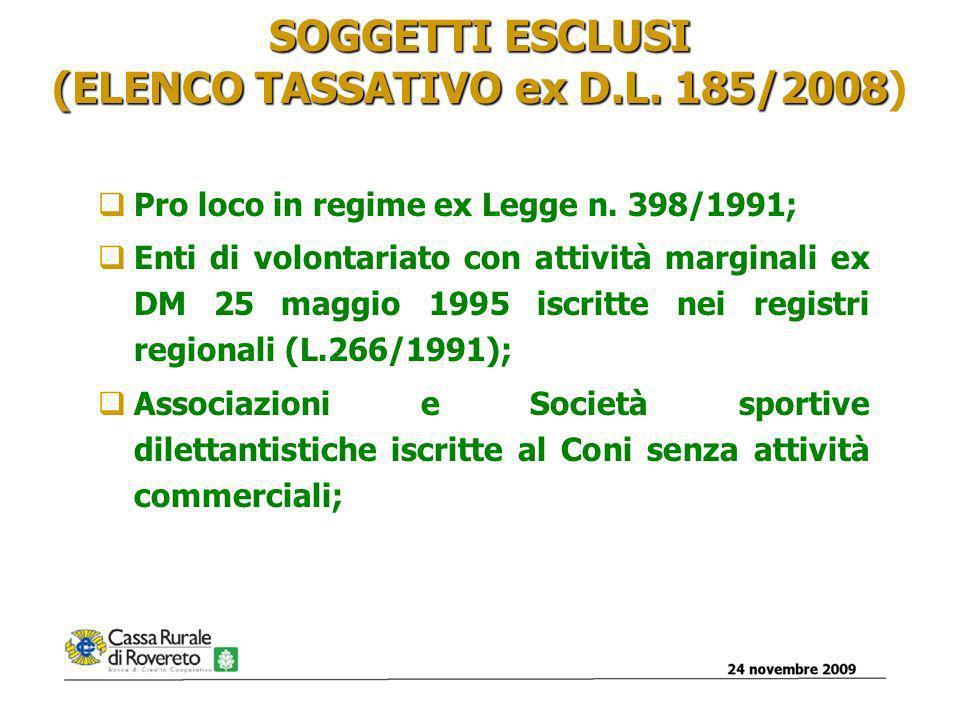 24 novembre 20096 SOGGETTI ESCLUSI PER MANCANZA DI PRESUPPOSTI agevolazioni fiscali ex art.148 TUIR e art.4 DPR Enti non di natura associativa (es.
