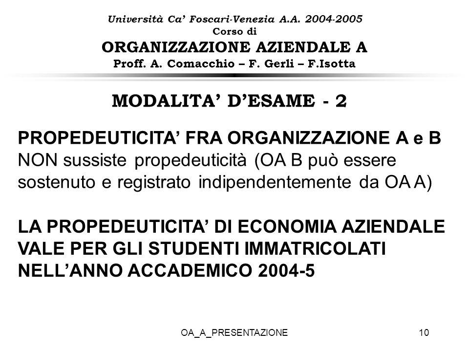 OA_A_PRESENTAZIONE10 PROPEDEUTICITA FRA ORGANIZZAZIONE A e B NON sussiste propedeuticità (OA B può essere sostenuto e registrato indipendentemente da