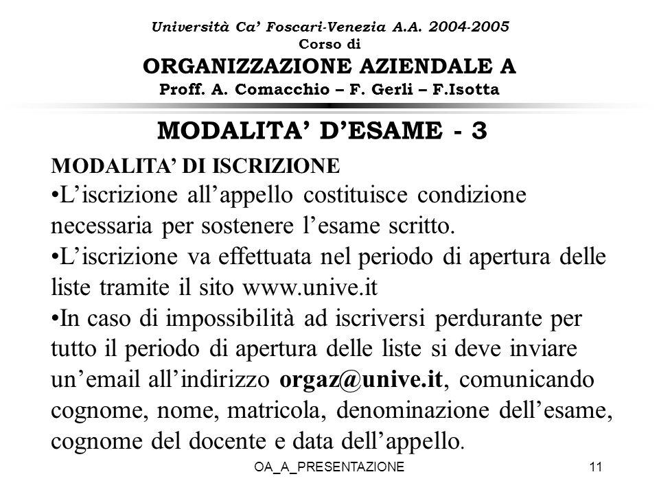 OA_A_PRESENTAZIONE11 MODALITA DESAME - 3 MODALITA DI ISCRIZIONE Liscrizione allappello costituisce condizione necessaria per sostenere lesame scritto.