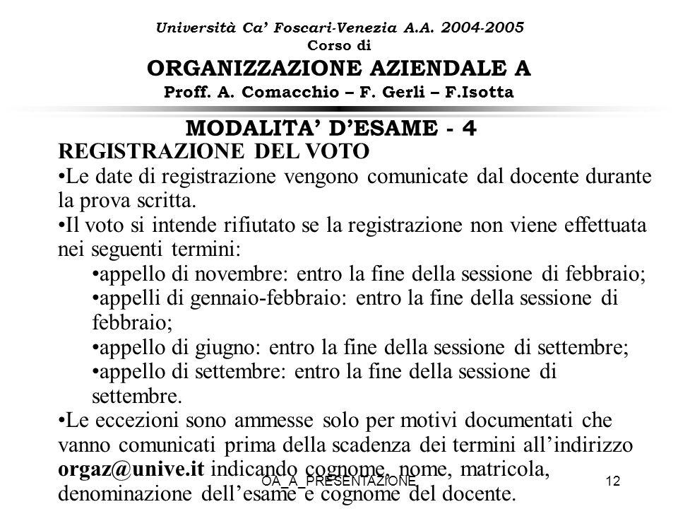 OA_A_PRESENTAZIONE12 MODALITA DESAME - 4 REGISTRAZIONE DEL VOTO Le date di registrazione vengono comunicate dal docente durante la prova scritta. Il v