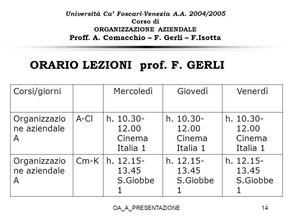 OA_A_PRESENTAZIONE14 ORARIO LEZIONI prof. F. GERLI Università Ca Foscari-Venezia A.A. 2004/2005 Corso di ORGANIZZAZIONE AZIENDALE Proff. A. Comacchio