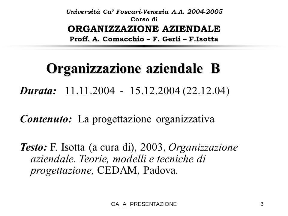 OA_A_PRESENTAZIONE3 Organizzazione aziendale B Durata: 11.11.2004 - 15.12.2004 (22.12.04) Contenuto: La progettazione organizzativa Testo: F. Isotta (