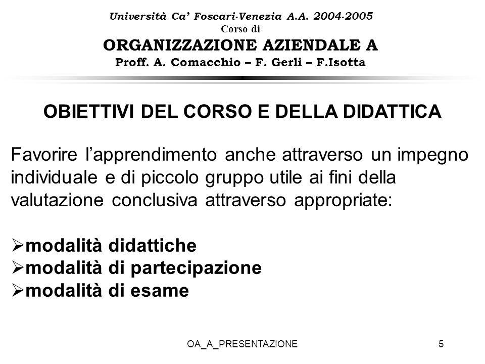 OA_A_PRESENTAZIONE5 Università Ca Foscari-Venezia A.A. 2004-2005 Corso di ORGANIZZAZIONE AZIENDALE A Proff. A. Comacchio – F. Gerli – F.Isotta OBIETTI