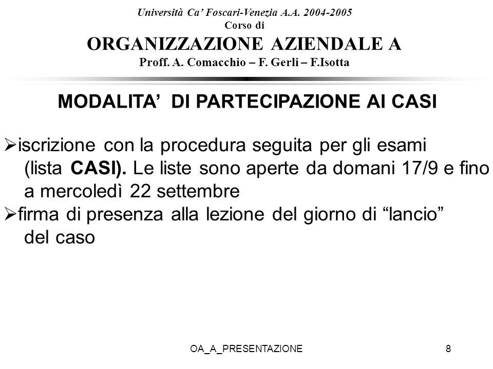 OA_A_PRESENTAZIONE8 Università Ca Foscari-Venezia A.A. 2004-2005 Corso di ORGANIZZAZIONE AZIENDALE A Proff. A. Comacchio – F. Gerli – F.Isotta MODALIT