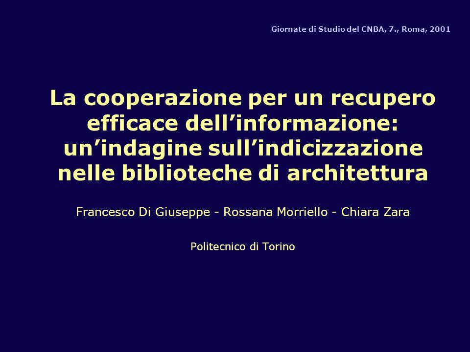 Giornate di Studio del CNBA, 7., Roma, 2001 La cooperazione per un recupero efficace dellinformazione: unindagine sullindicizzazione nelle biblioteche