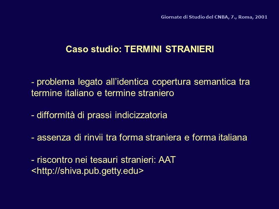 Giornate di Studio del CNBA, 7., Roma, 2001 - problema legato allidentica copertura semantica tra termine italiano e termine straniero - difformità di