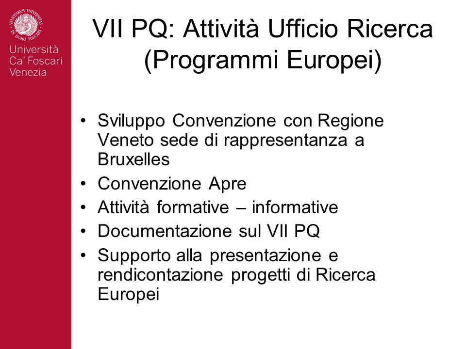 VII PQ: Attività Ufficio Ricerca (Programmi Europei) Sviluppo Convenzione con Regione Veneto sede di rappresentanza a Bruxelles Convenzione Apre Attiv