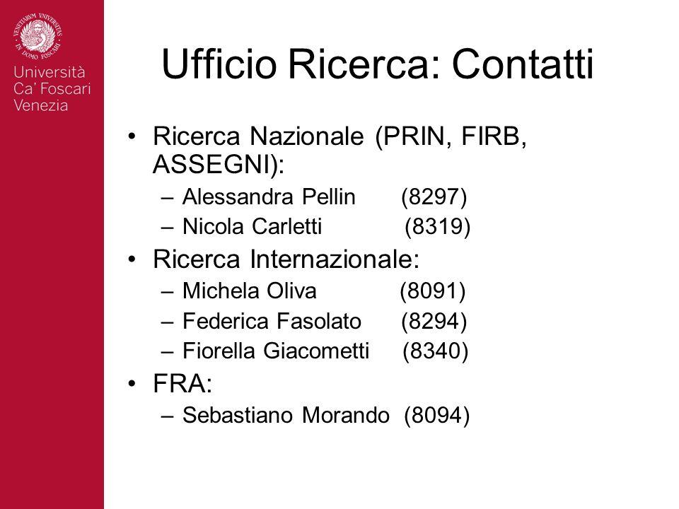 Ufficio Ricerca: Contatti Ricerca Nazionale (PRIN, FIRB, ASSEGNI): –Alessandra Pellin (8297) –Nicola Carletti (8319) Ricerca Internazionale: –Michela Oliva (8091) –Federica Fasolato (8294) –Fiorella Giacometti (8340) FRA: –Sebastiano Morando (8094)