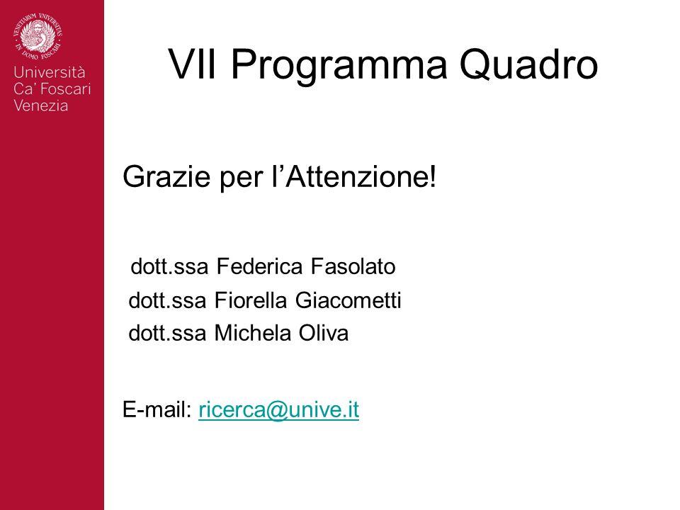 VII Programma Quadro Grazie per lAttenzione! dott.ssa Federica Fasolato dott.ssa Fiorella Giacometti dott.ssa Michela Oliva E-mail: ricerca@unive.itri