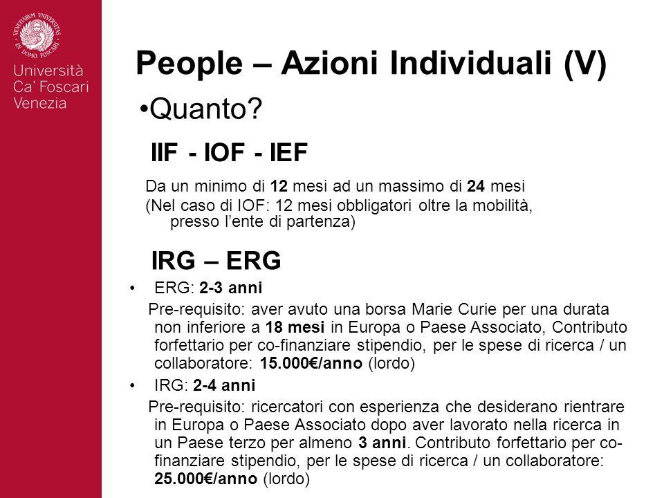 People – Azioni Individuali (V) Quanto? IIF - IOF - IEF Da un minimo di 12 mesi ad un massimo di 24 mesi (Nel caso di IOF: 12 mesi obbligatori oltre l