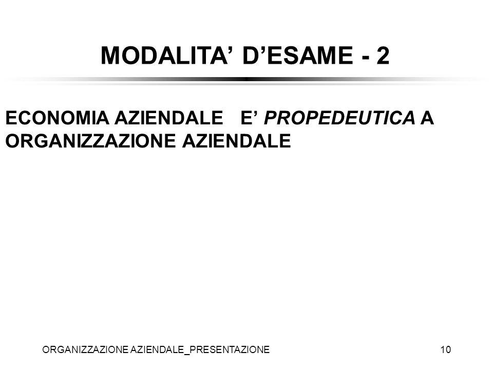 ORGANIZZAZIONE AZIENDALE_PRESENTAZIONE10 ECONOMIA AZIENDALE E PROPEDEUTICA A ORGANIZZAZIONE AZIENDALE MODALITA DESAME - 2