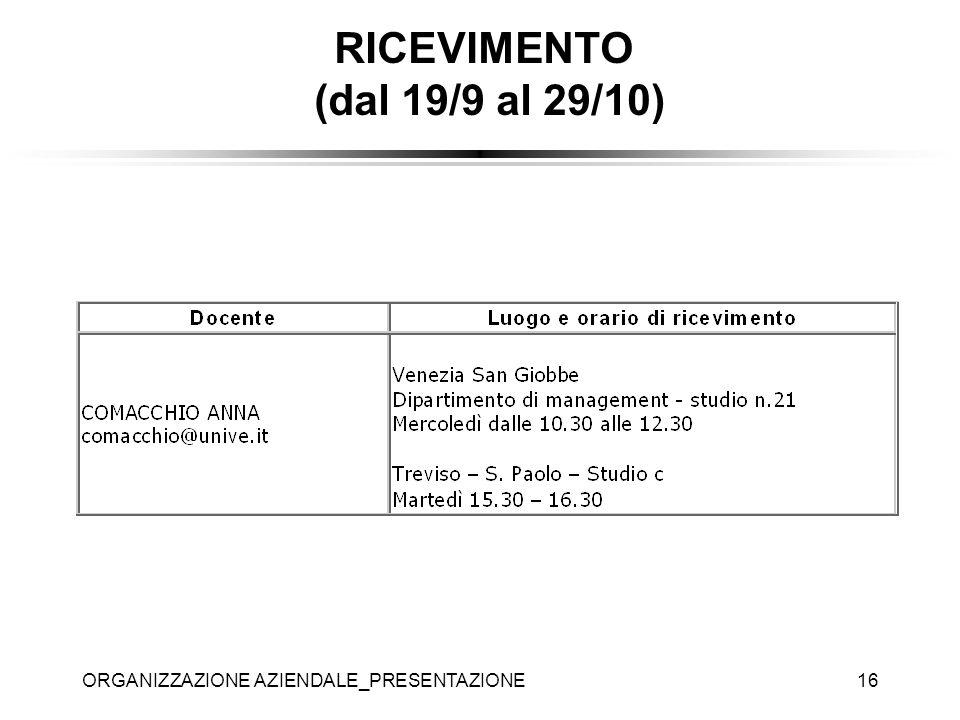 ORGANIZZAZIONE AZIENDALE_PRESENTAZIONE16 RICEVIMENTO (dal 19/9 al 29/10)