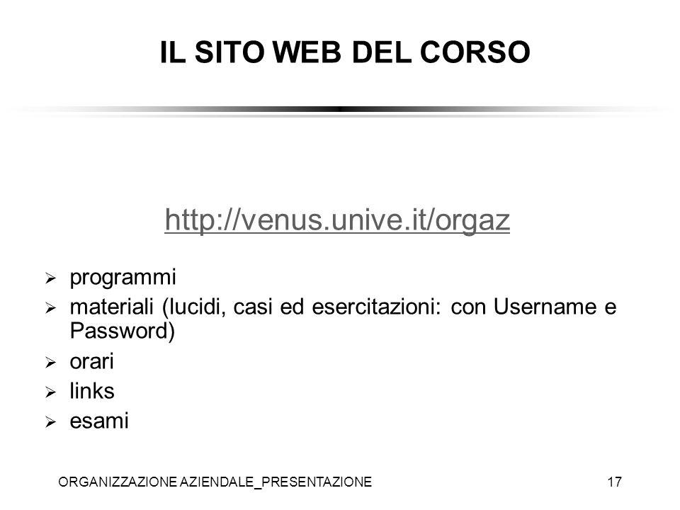 ORGANIZZAZIONE AZIENDALE_PRESENTAZIONE17 http://venus.unive.it/orgaz programmi materiali (lucidi, casi ed esercitazioni: con Username e Password) orar