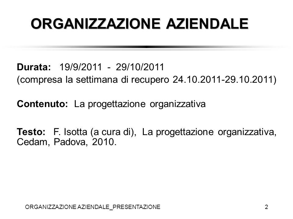 ORGANIZZAZIONE AZIENDALE_PRESENTAZIONE2 ORGANIZZAZIONE AZIENDALE Durata: 19/9/2011 - 29/10/2011 (compresa la settimana di recupero 24.10.2011-29.10.20