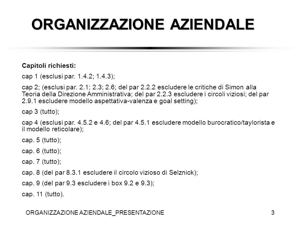 ORGANIZZAZIONE AZIENDALE_PRESENTAZIONE3 Capitoli richiesti: cap 1 (esclusi par. 1.4.2; 1.4.3); cap 2; (esclusi par. 2.1; 2.3; 2.6; del par 2.2.2 esclu