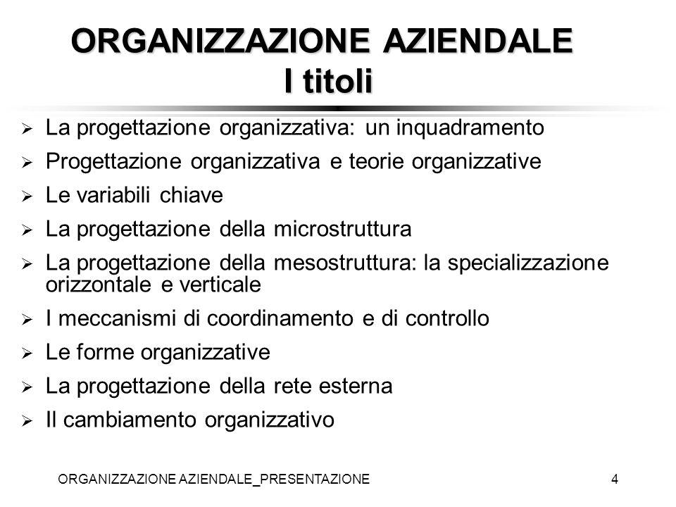 ORGANIZZAZIONE AZIENDALE_PRESENTAZIONE4 La progettazione organizzativa: un inquadramento Progettazione organizzativa e teorie organizzative Le variabi