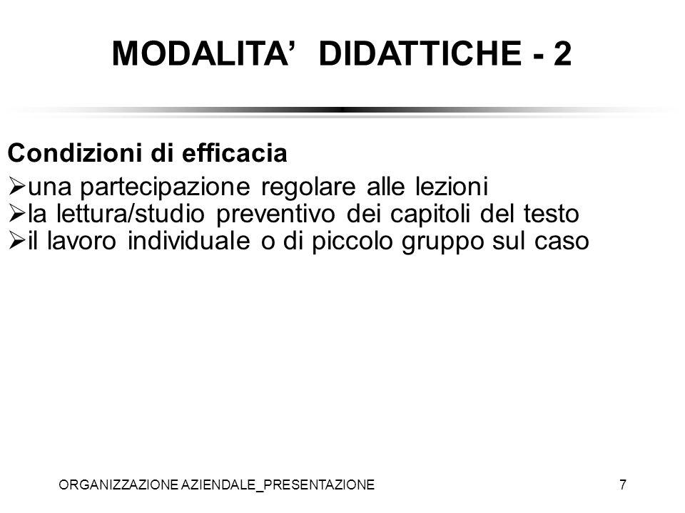 ORGANIZZAZIONE AZIENDALE_PRESENTAZIONE7 MODALITA DIDATTICHE - 2 Condizioni di efficacia una partecipazione regolare alle lezioni la lettura/studio pre