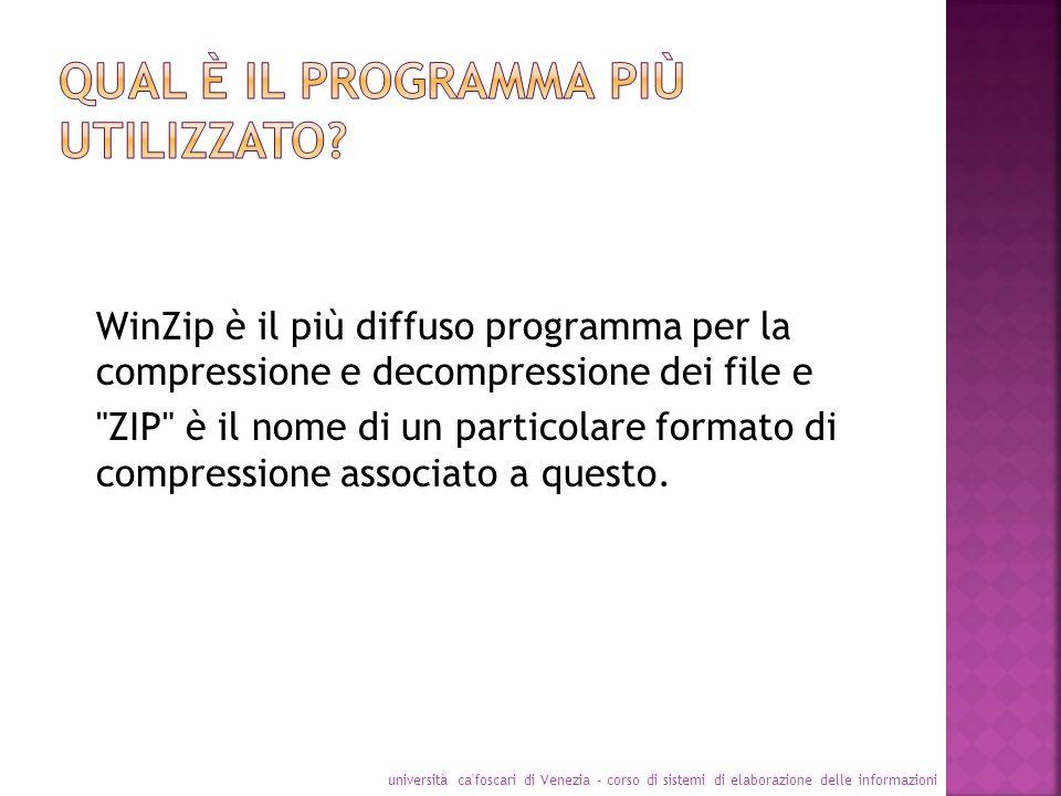 WinZip è il più diffuso programma per la compressione e decompressione dei file e