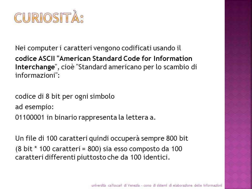 Nei computer i caratteri vengono codificati usando il codice ASCII