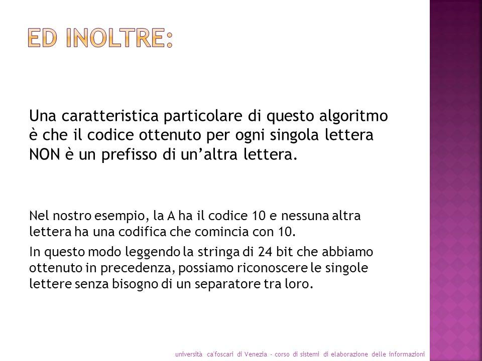 Una caratteristica particolare di questo algoritmo è che il codice ottenuto per ogni singola lettera NON è un prefisso di unaltra lettera. Nel nostro