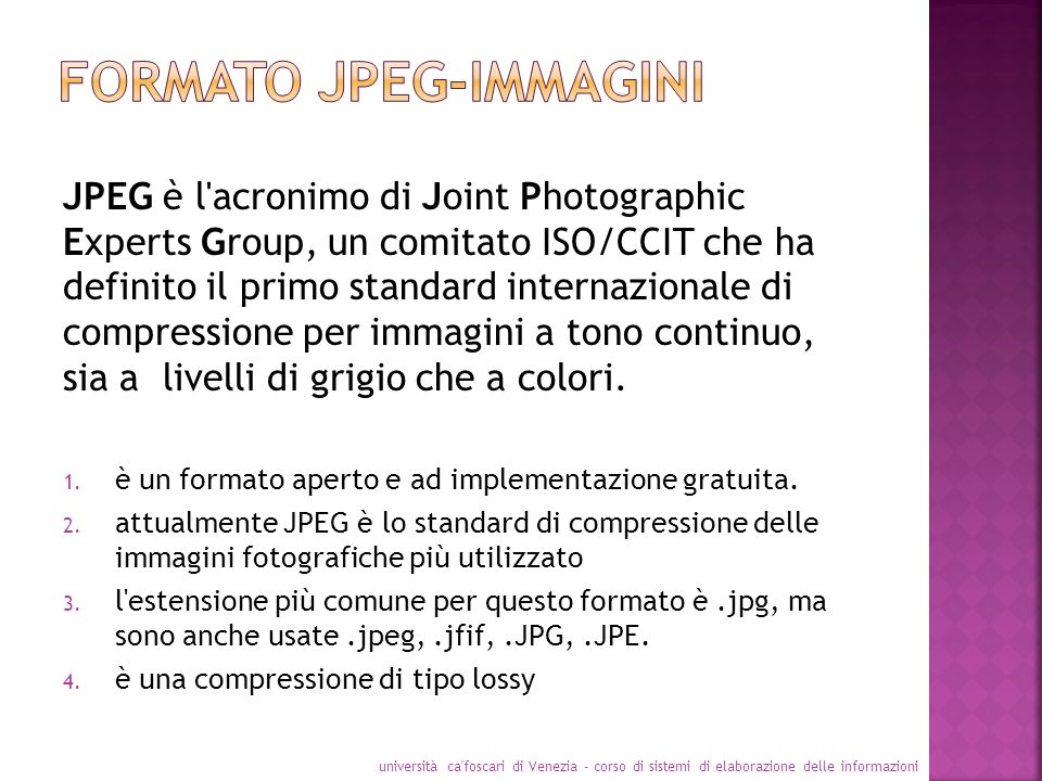 JPEG è l'acronimo di Joint Photographic Experts Group, un comitato ISO/CCIT che ha definito il primo standard internazionale di compressione per immag