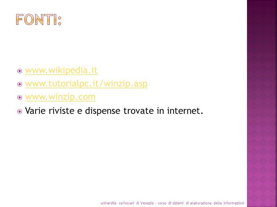 www.wikipedia.it www.tutorialpc.it/winzip.asp www.winzip.com Varie riviste e dispense trovate in internet. università ca'foscari di Venezia - corso di