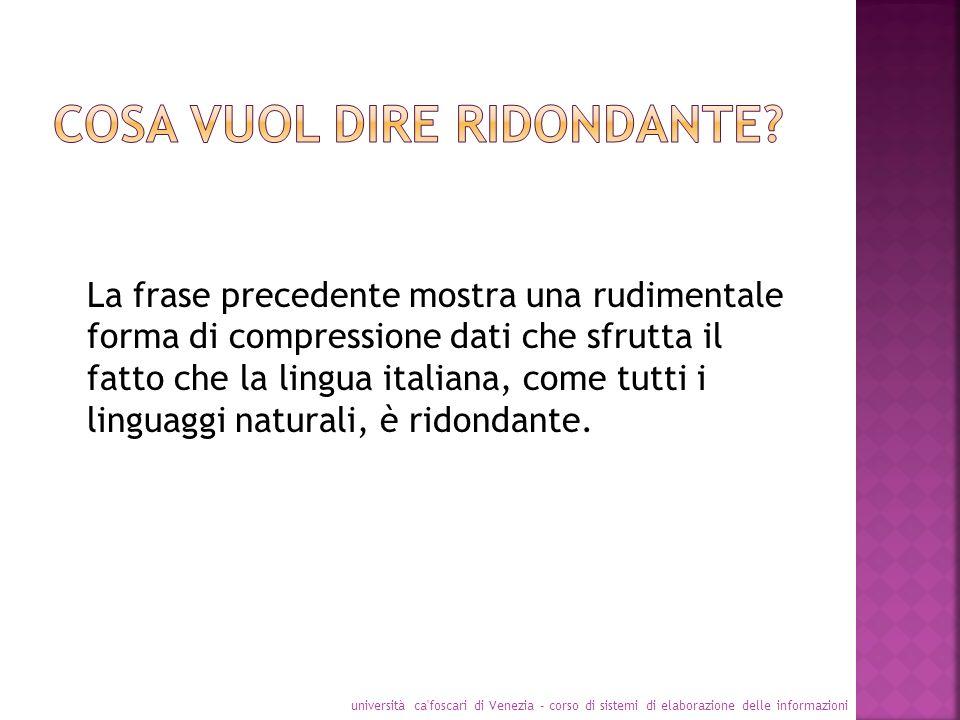 La frase precedente mostra una rudimentale forma di compressione dati che sfrutta il fatto che la lingua italiana, come tutti i linguaggi naturali, è