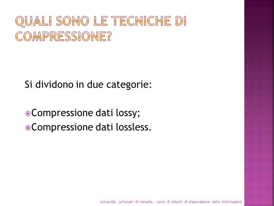 Si dividono in due categorie: Compressione dati lossy; Compressione dati lossless. università ca'foscari di Venezia - corso di sistemi di elaborazione