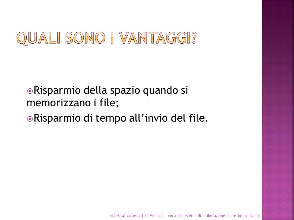 Risparmio della spazio quando si memorizzano i file; Risparmio di tempo allinvio del file. università ca'foscari di Venezia - corso di sistemi di elab