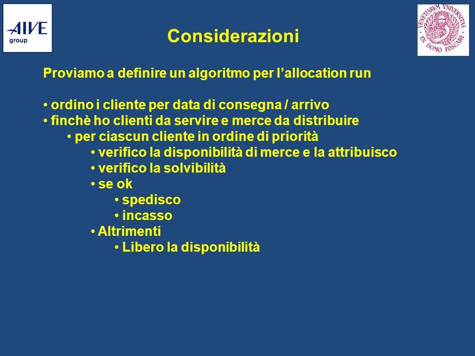 Proviamo a definire un algoritmo per lallocation run ordino i cliente per data di consegna / arrivo finchè ho clienti da servire e merce da distribuir