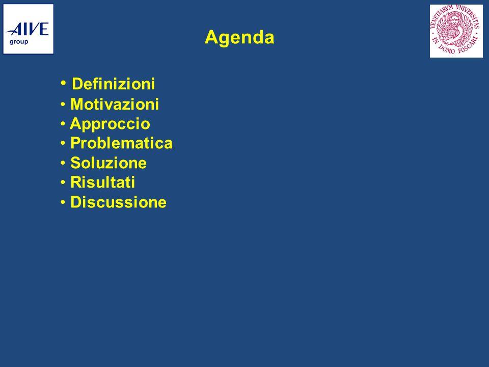 Agenda Definizioni Motivazioni Approccio Problematica Soluzione Risultati Discussione