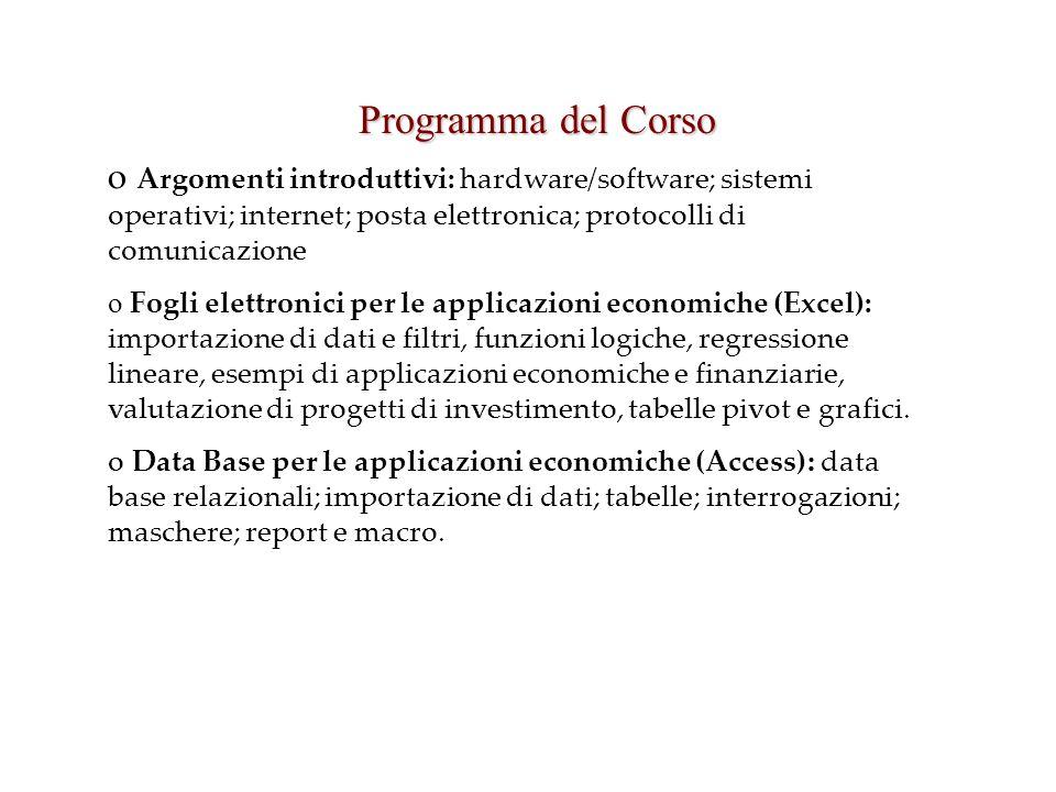 Programma del Corso o Argomenti introduttivi: hardware/software; sistemi operativi; internet; posta elettronica; protocolli di comunicazione o Fogli e