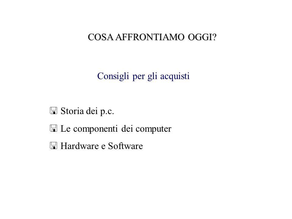 COSA AFFRONTIAMO OGGI. Consigli per gli acquisti Storia dei p.c.