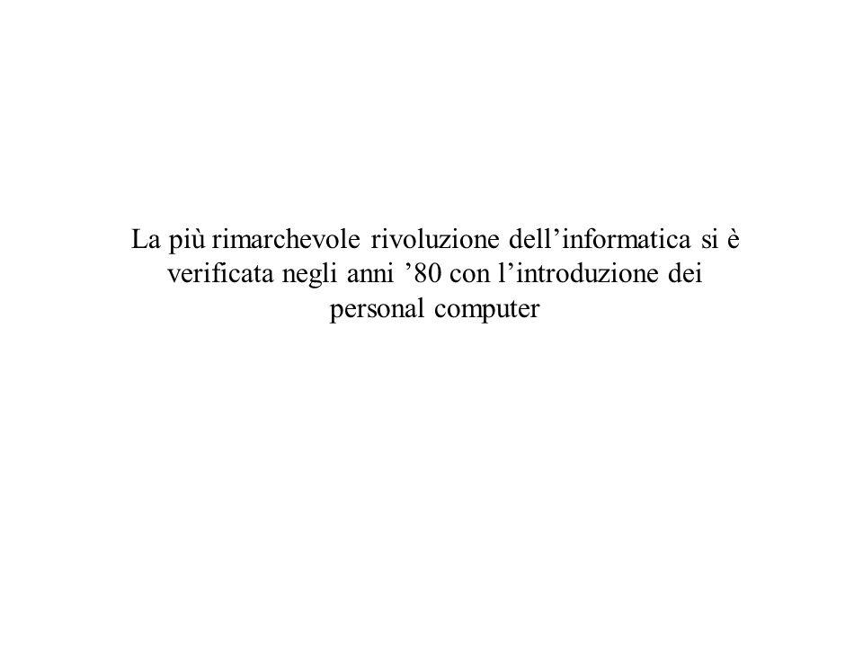 La più rimarchevole rivoluzione dellinformatica si è verificata negli anni 80 con lintroduzione dei personal computer