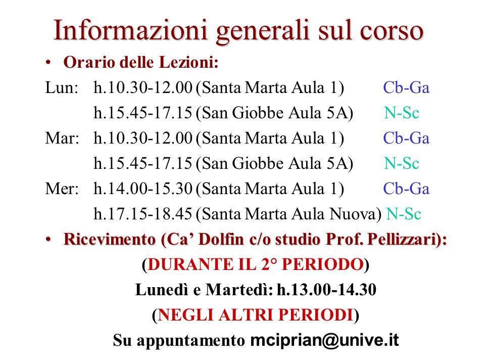 Informazioni generali sul corso Orario delle Lezioni: Lun:h.10.30-12.00 (Santa Marta Aula 1) Cb-Ga h.15.45-17.15 (San Giobbe Aula 5A) N-Sc Mar:h.10.30