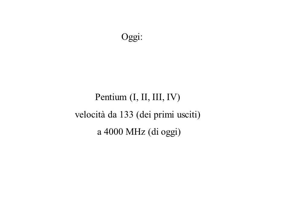 Oggi: Pentium (I, II, III, IV) velocità da 133 (dei primi usciti) a 4000 MHz (di oggi)